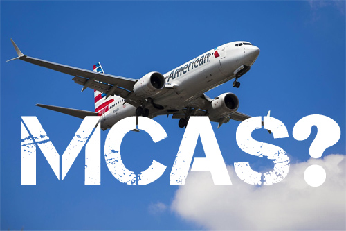 MCAS text and American Airlines plane